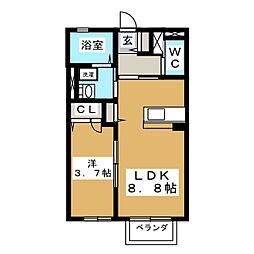 宮城県仙台市泉区向陽台4丁目の賃貸アパートの間取り