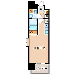 仙台市地下鉄東西線 大町西公園駅 徒歩4分の賃貸マンション 11階ワンルームの間取り