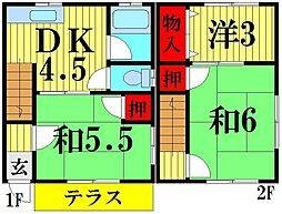 [テラスハウス] 埼玉県越谷市神明町1丁目 の賃貸【/】の間取り