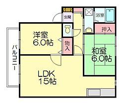 サンビレッジ新原[2階]の間取り