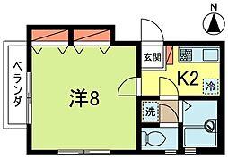 東京都杉並区阿佐谷南1丁目の賃貸アパートの間取り