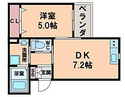 トーシン山坂 3階1DKの間取り