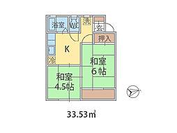 千葉県松戸市新松戸南の賃貸アパートの間取り