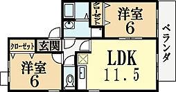 京都府城陽市枇杷庄大堀の賃貸アパートの間取り