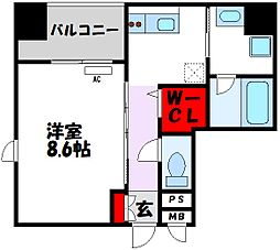 D-room gracious平尾 4階1Kの間取り