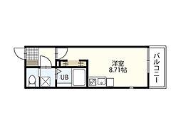 広島電鉄8系統 寺町駅 徒歩6分の賃貸アパート 2階ワンルームの間取り