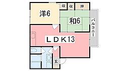 兵庫県姫路市御立東2丁目の賃貸アパートの間取り