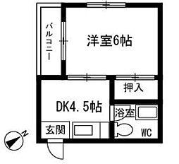 福岡県福岡市博多区美野島3丁目の賃貸マンションの間取り
