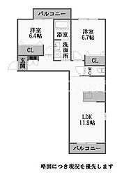 徳島県徳島市末広5丁目の賃貸マンションの間取り