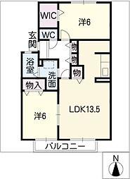 カーサ・コモドA棟[2階]の間取り