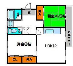 粟生第二住宅12棟[4階]の間取り