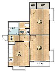 クイーンビルY[1階]の間取り