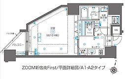 ZOOM新宿南First 13階1Kの間取り