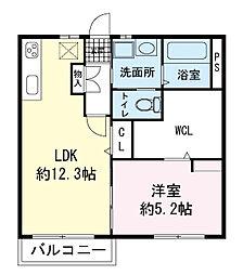 タウニィ野村A[201号室]の間取り
