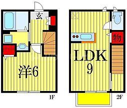 ファビュラス市川B棟 2階1LDKの間取り