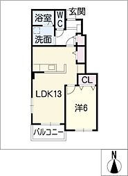 サニールピナスI[1階]の間取り