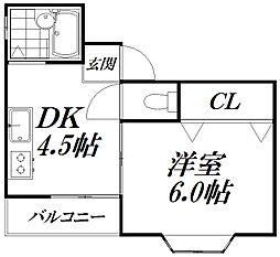 京阪本線 西三荘駅 徒歩7分の賃貸マンション 1階1DKの間取り