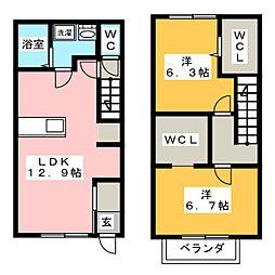 [テラスハウス] 愛知県江南市田代町郷中 の賃貸【/】の間取り