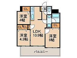 エンクレストパサージュ博多 6階3LDKの間取り