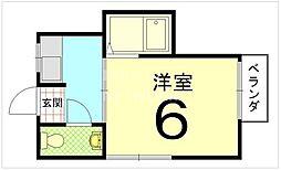 レディースハイツ西ノ京[302号室号室]の間取り