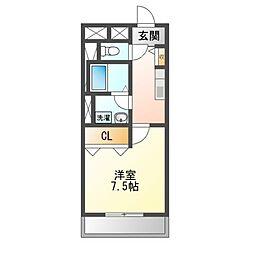 愛知県岩倉市大市場町郷前の賃貸マンションの間取り