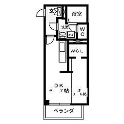 名古屋市営東山線 中村日赤駅 徒歩7分の賃貸マンション 1階ワンルームの間取り