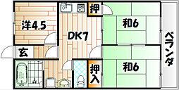 福岡県北九州市戸畑区東大谷1の賃貸マンションの間取り