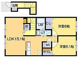 北海道江別市野幌若葉町の賃貸アパートの間取り