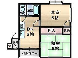 ハイツMN井高野駅前 3階2DKの間取り