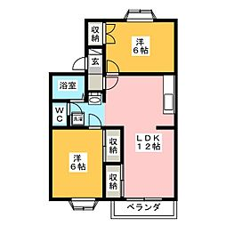 ファミーユ竹原 B棟[2階]の間取り