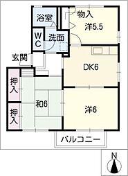 ウィズテリアスB棟[2階]の間取り