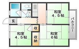 万寿東ハイツ[2階]の間取り