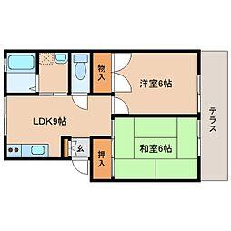 奈良県奈良市西大寺新田町の賃貸アパートの間取り