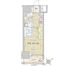 都営浅草線 高輪台駅 徒歩13分の賃貸マンション 2階1Kの間取り