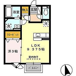 富山県富山市粟島町1丁目の賃貸アパートの間取り