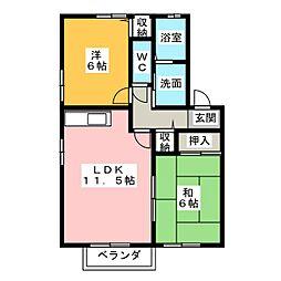 アンソレイユ三ツ池 B棟[2階]の間取り