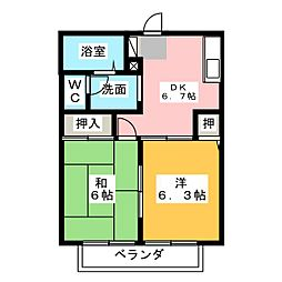 グリーンハイツ喜多山B棟[1階]の間取り