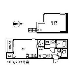 名古屋市営桜通線 新瑞橋駅 徒歩4分の賃貸アパート 1階1SKの間取り