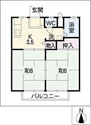 グラフティ A,B棟[2階]の間取り