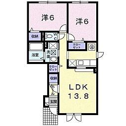 カルムKK[1階]の間取り