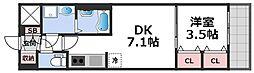 レオンコンフォート天王寺東 7階1DKの間取り