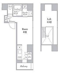 カナルフロント芝浦 9階ワンルームの間取り