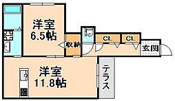 兵庫県伊丹市昆陽東2丁目の賃貸アパートの間取り