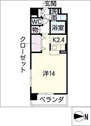 エミイル栄 3階1Kの間取り