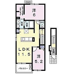 ジュンレイ紅沢b[2階]の間取り