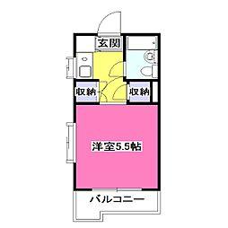 東京都東大和市高木3丁目の賃貸マンションの間取り