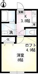 JR東海道本線 戸塚駅 徒歩8分の賃貸アパート 1階1Kの間取り