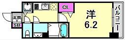 LEGESTA神戸ガーデンパレス 3階1Kの間取り