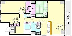 兵庫県神戸市西区樫野台の賃貸マンションの間取り