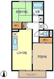 長野ハイツB[2階]の間取り